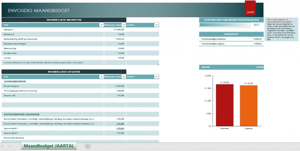 maandbudget spreadsheet Excel Financiële TAG Mama's Jungle